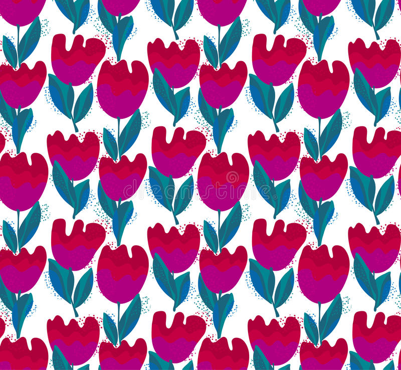 Flor à moda simples sem emenda, teste padrão da tulipa ilustração stock