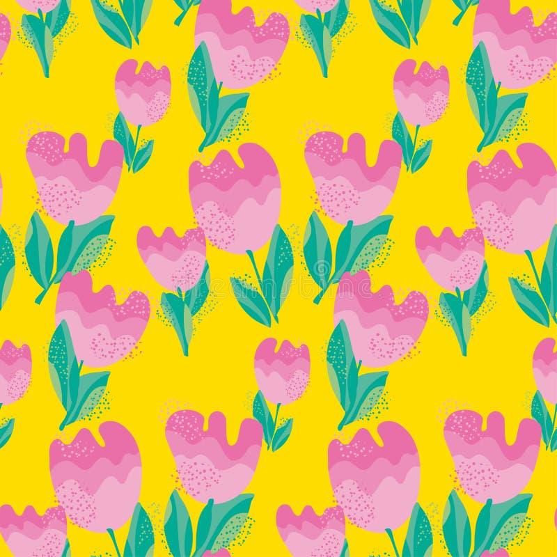 Flor à moda simples sem emenda, teste padrão da tulipa V ilustração royalty free