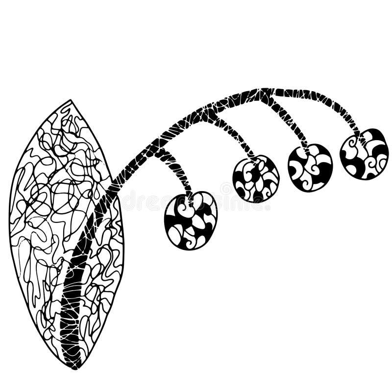 Flor abstracta del bosque del cordón con las hojas y las bayas L?nea a mano arte del bosque misterioso libre illustration