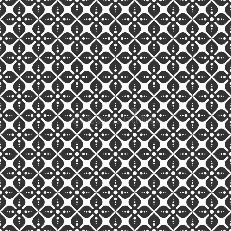 Flor abstracta del modelo inconsútil de cuatro pétalos Estampado de plores estilizado Fondo del monocromo del vector stock de ilustración