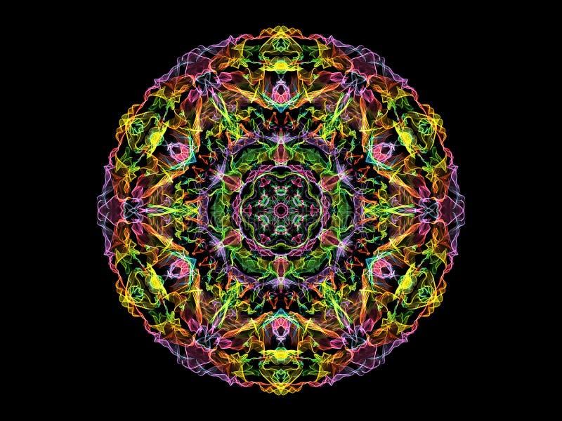 Flor abstracta del rosa, amarilla, verde y violeta de la llama de la mandala, modelo redondo floral ornamental de neón en fondo n stock de ilustración