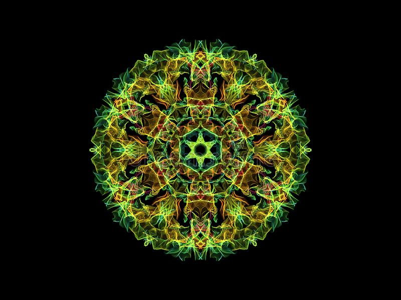 Flor abstracta verde, amarilla y roja de la mandala de la llama, modelo redondo floral ornamental en fondo negro Tema de la yoga stock de ilustración