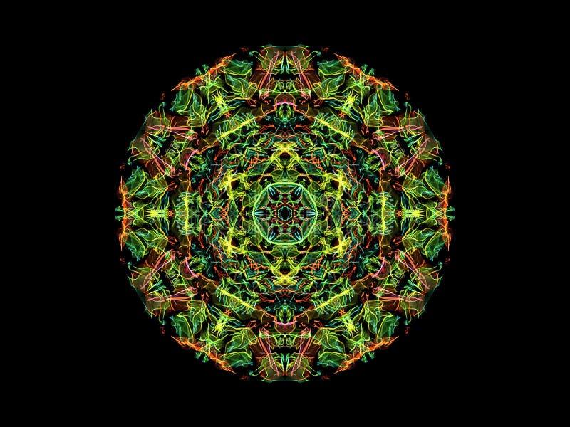Flor abstracta verde, amarilla y roja de la mandala de la llama, modelo redondo floral ornamental en fondo negro Tema de la yoga ilustración del vector