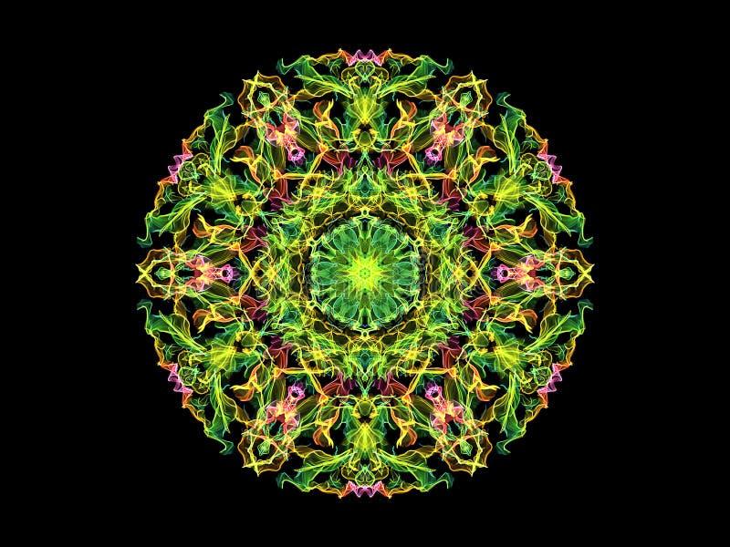 Flor abstracta verde, amarilla y rosada de la mandala de la llama, modelo redondo floral ornamental de neón en fondo negro Tema d ilustración del vector