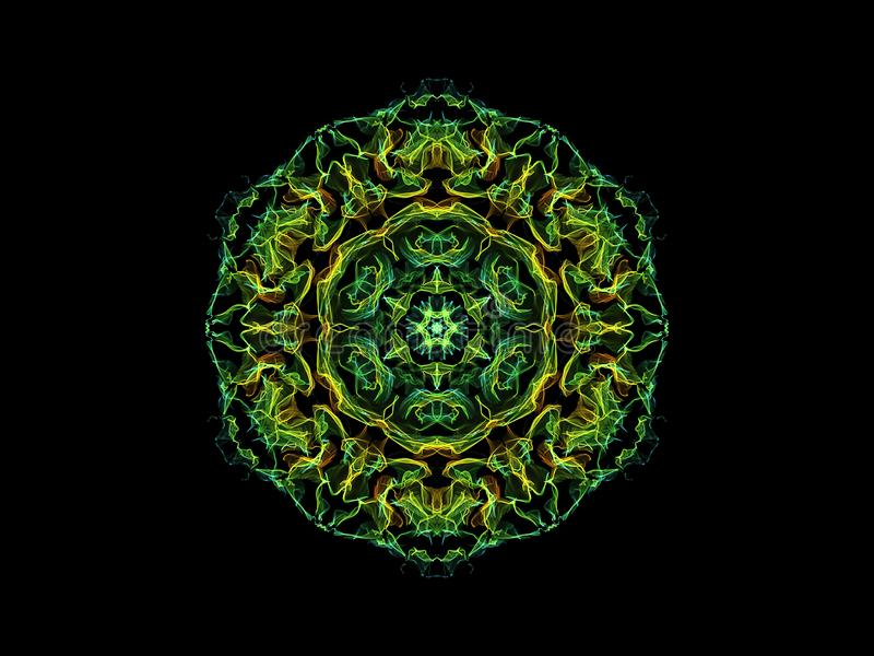 Flor abstracta verde y amarilla de la mandala de la llama, modelo redondo floral ornamental en fondo negro Tema de la yoga libre illustration