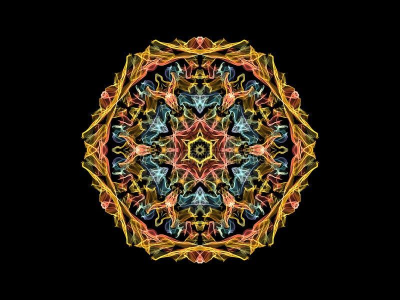 Flor abstrata amarela, coral e azul da mandala da chama, teste padr?o redondo floral decorativo no fundo preto Tema da ioga ilustração do vetor