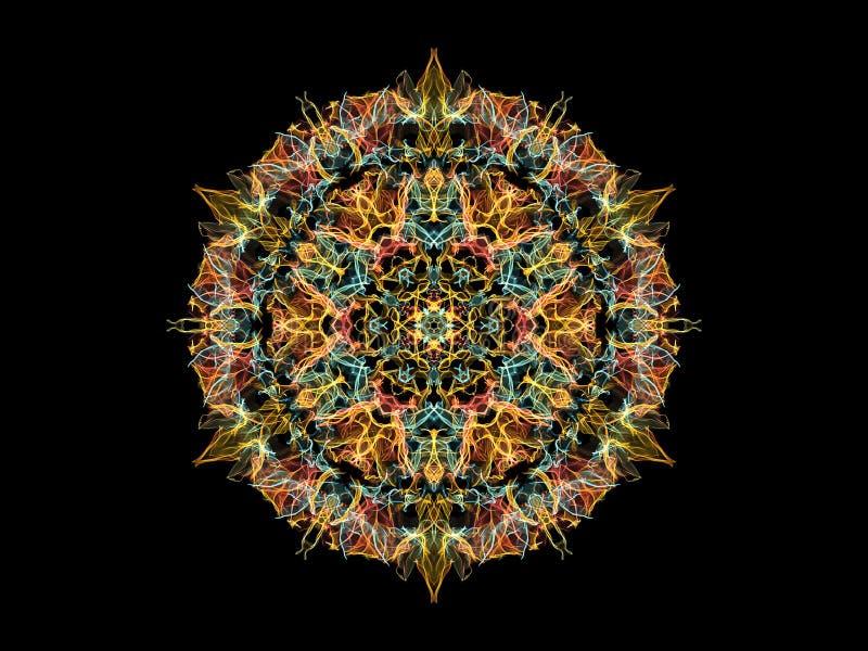 Flor abstrata amarela, coral e azul da mandala da chama, teste padr?o redondo floral decorativo no fundo preto Tema da ioga ilustração stock