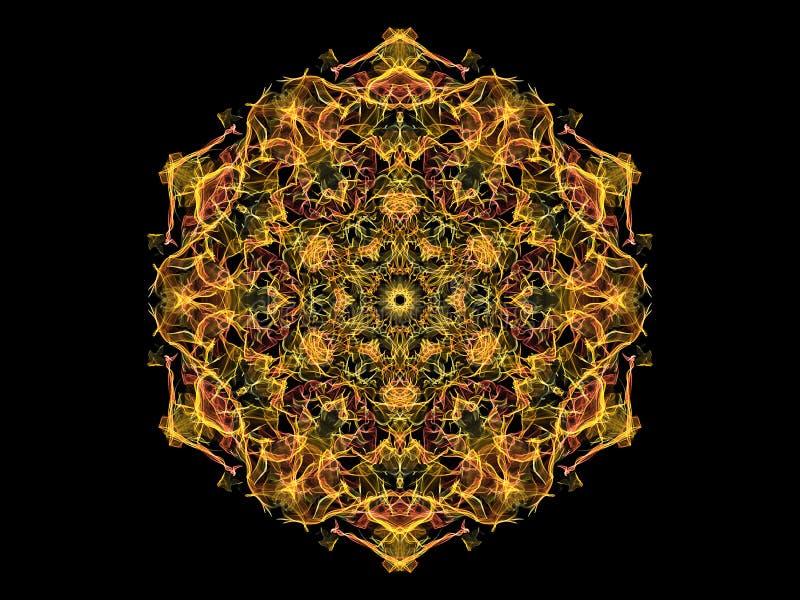 Flor abstrata amarela e coral da mandala da chama, teste padrão sextavado floral decorativo no fundo preto Tema da ioga ilustração do vetor