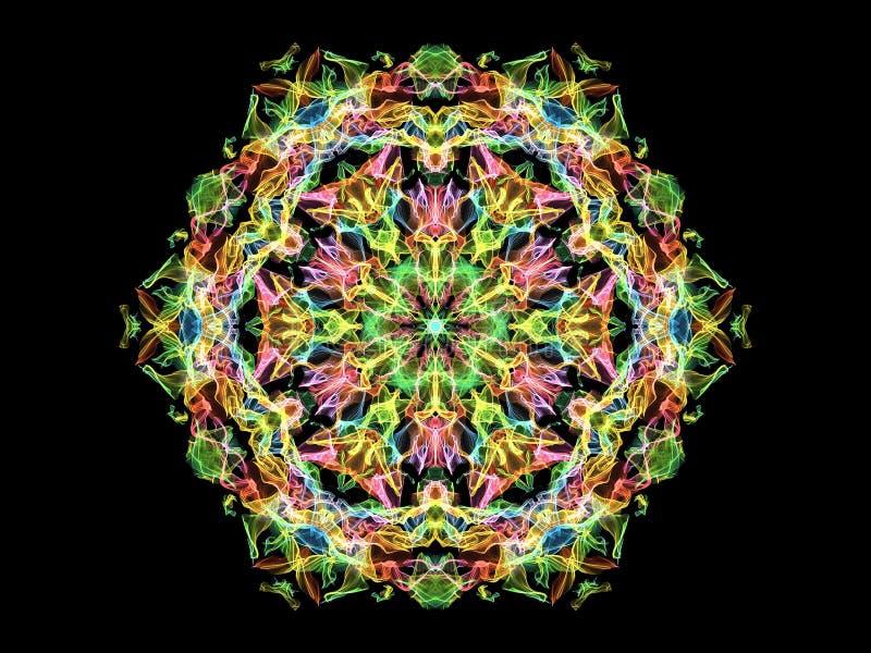 Flor abstrata brilhante da mandala da chama, teste padrão simétrico decorativo no fundo preto ilustração royalty free