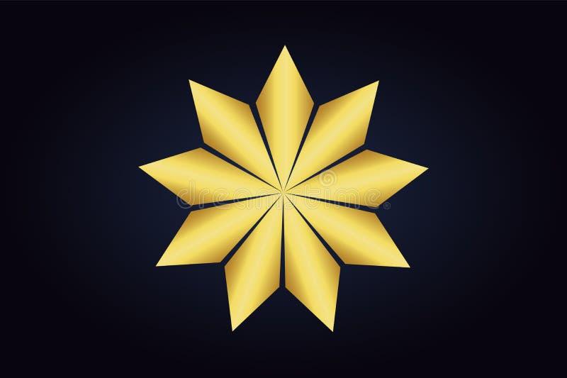 Flor abstrata com as nove p?talas douradas ilustração royalty free