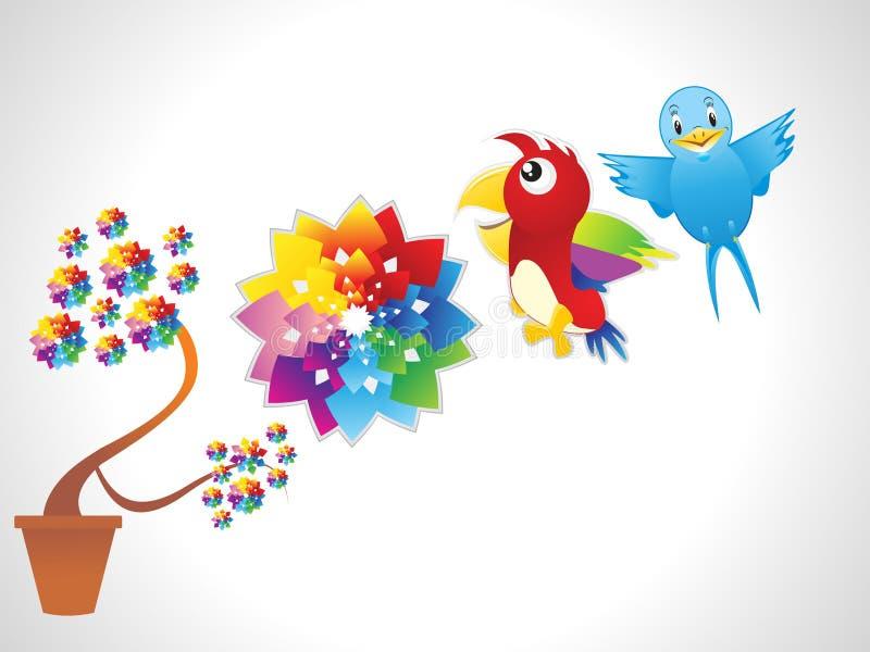 Flor abstrata com papagaio & pássaro ilustração stock