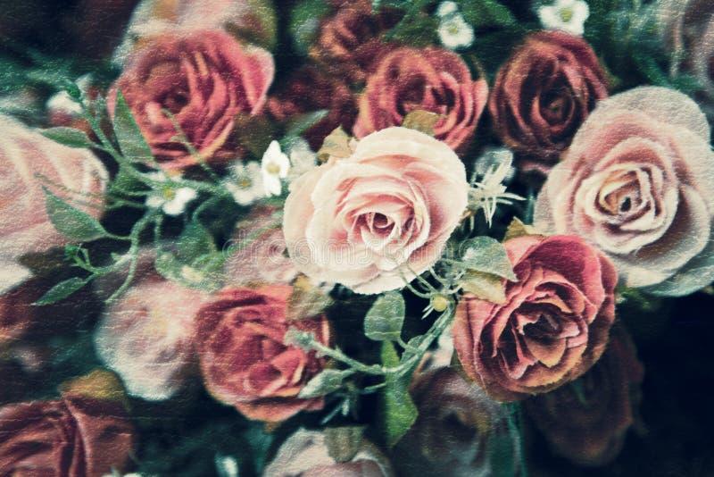 Flor abstrata de Rosa no papel da textura da amoreira fotografia de stock