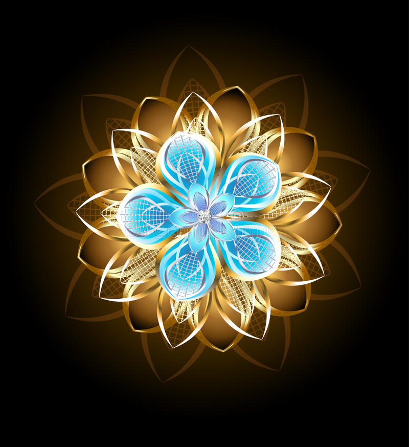 Flor abstrata de turquesa ilustração do vetor