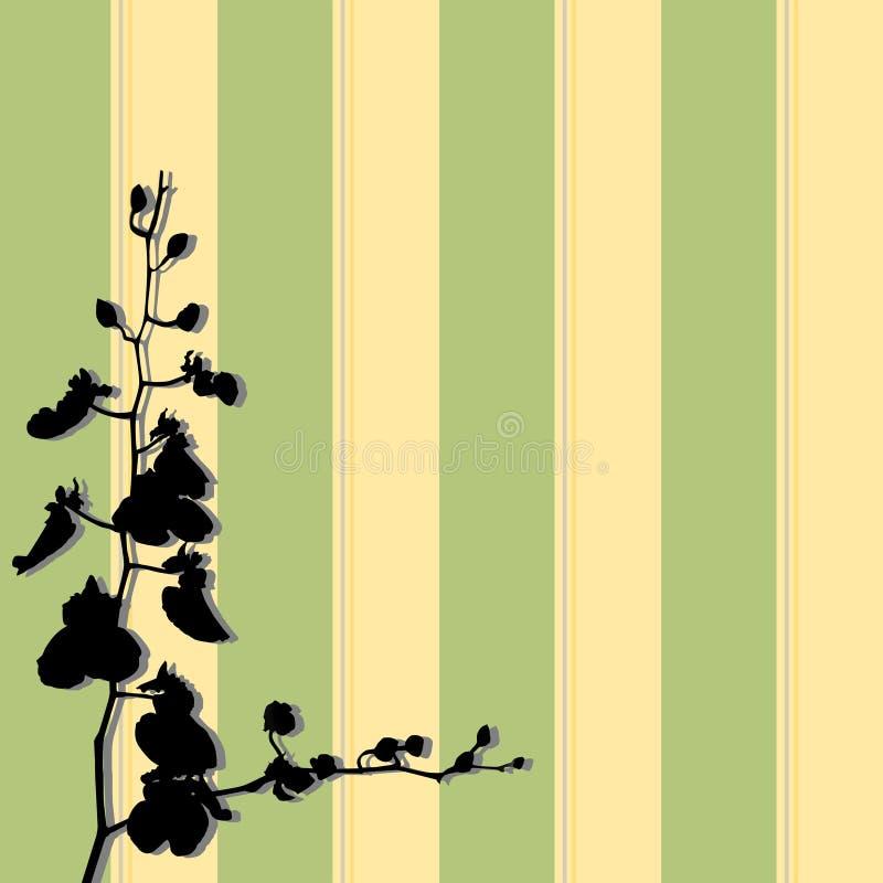Flor abstrata, etiqueta floral da parede da orquídea, silhueta preta em listras verdes e amarelas ilustração stock