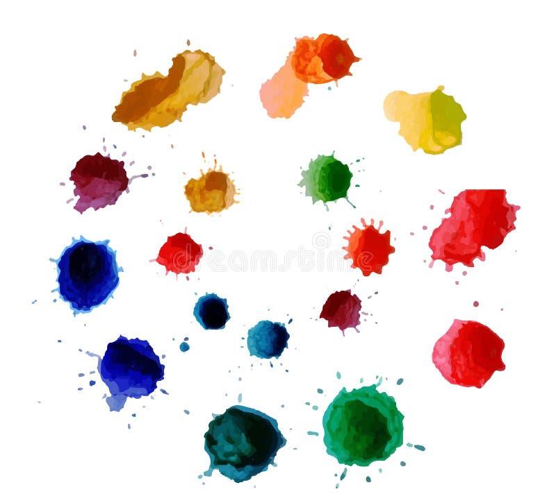 Flor abstrata feita de gotas da aquarela Splats coloridos da pintura da tinta do vetor ilustração stock