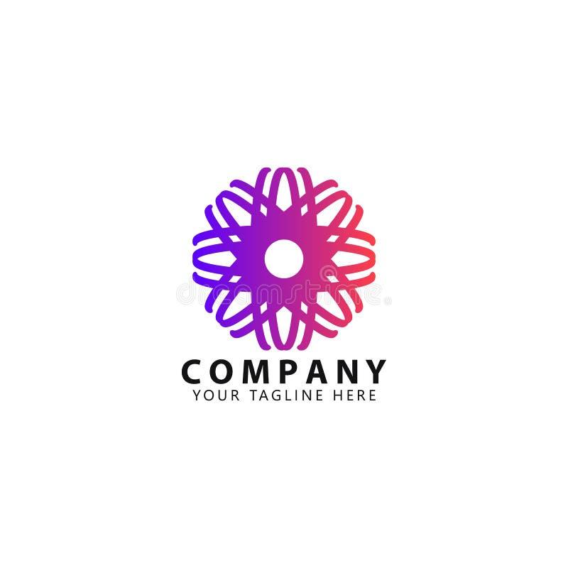 Flor abstrata Logo Design Templates com colorido ilustração do vetor