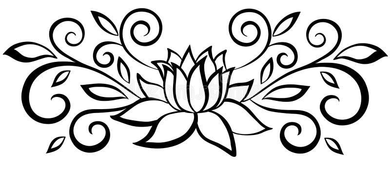 Flor abstrata preto e branco bonita. Com folhas e flourishes. Isolado no branco ilustração royalty free