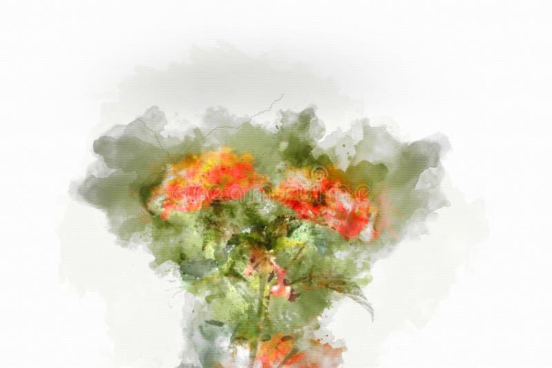 Flor abstrata que floresce no fundo colorido da pintura da aquarela ilustração stock