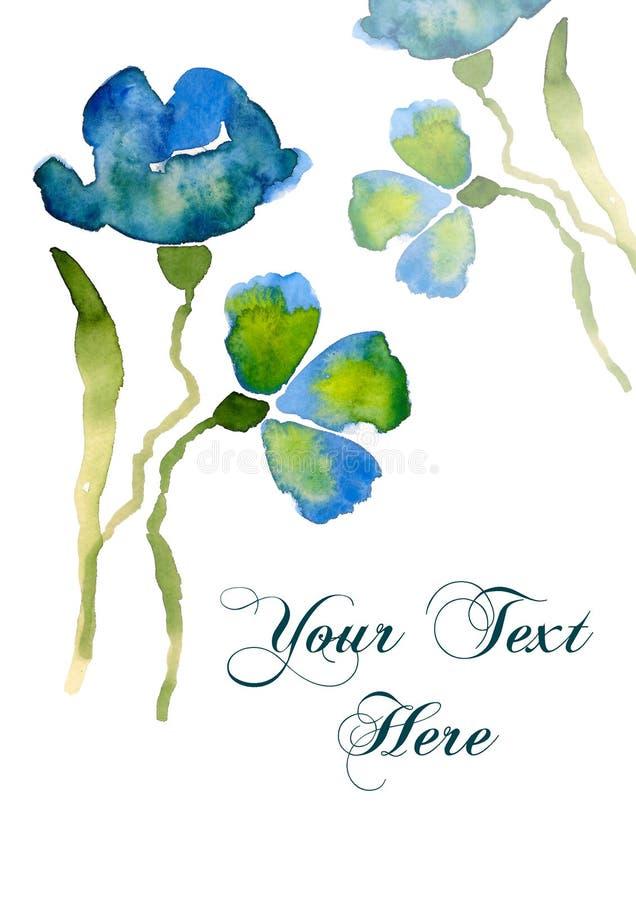 Flor agradável do azul da aguarela ilustração stock
