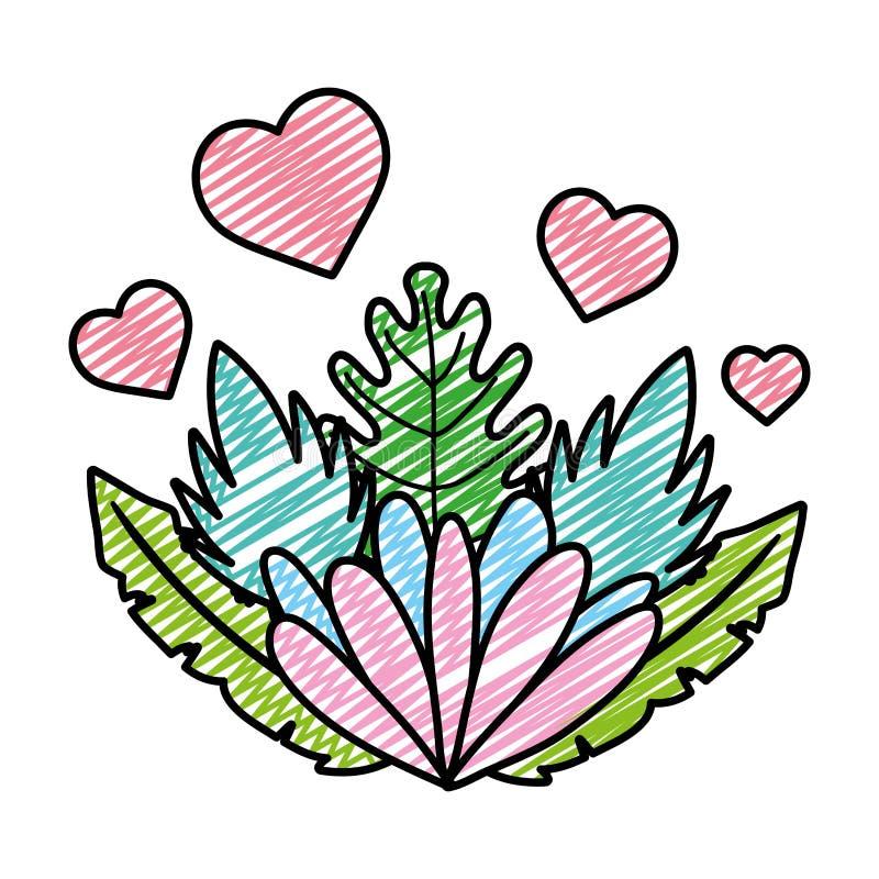 Flor agradable del garabato con los corazones y la planta exótica libre illustration