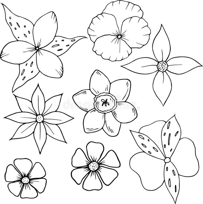 Flor ajustada no estilo dos desenhos animados Grande para o cartão, cartaz, cópia ilustração stock