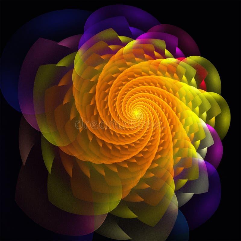 Flor alaranjada do espaço decorativo digital abstrato da arte do fractal ilustração stock