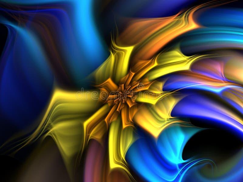 Flor amarela & azul ilustração royalty free