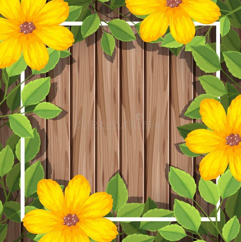 Flor amarilla en marco de madera libre illustration