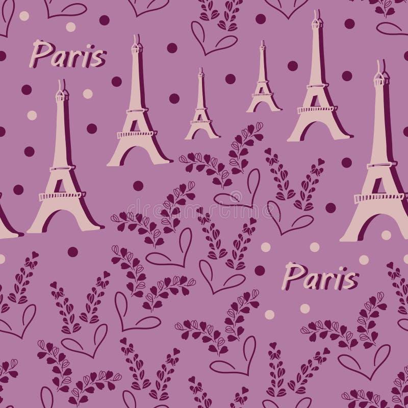 Flor-amor de la torre Eiffel y de la lavanda en Parise Seamless Repeat Pattern Background ilustración del vector