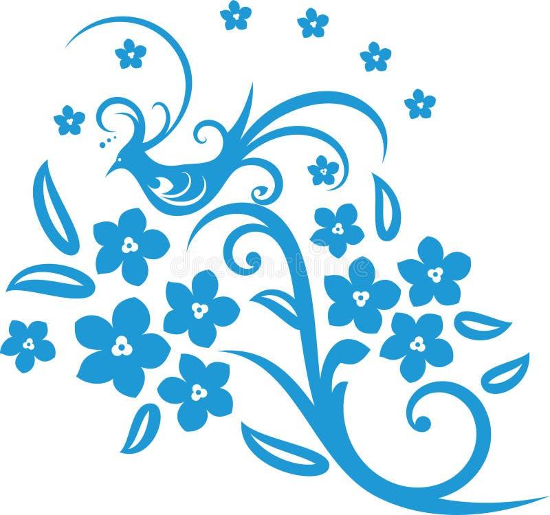 Flor & pássaro ilustração royalty free