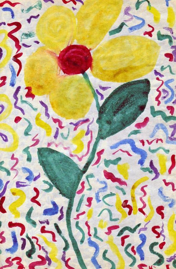 Flor - arte da criança ilustração stock