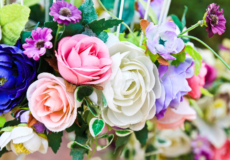 Flor artificial de la decoración fotos de archivo