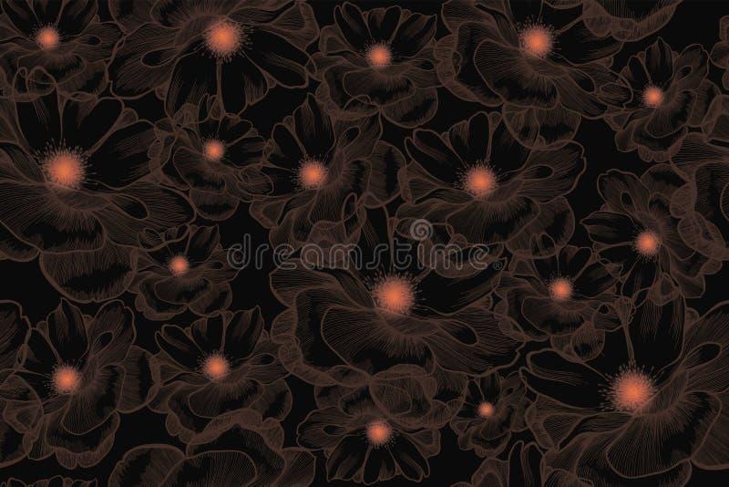 A flor aumentou, teste padrão sem emenda Desenhado à mão, ilustração do vetor foto de stock