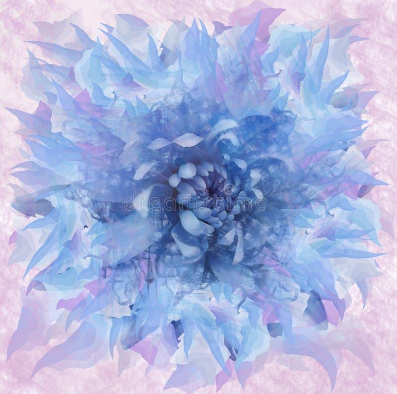 Flor azul abstracta en estilo de la acuarela Fondo azul-rosado floral Para el diseño, textura, cubierta, postal fotos de archivo