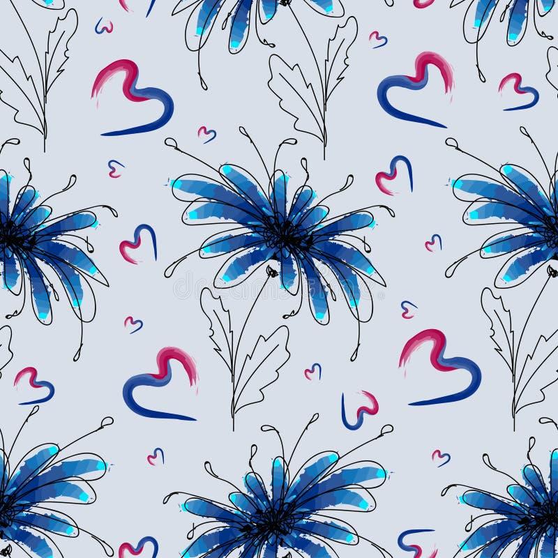 Flor azul com corações coloridos abstratos em um claro - fundo azul ilustração stock