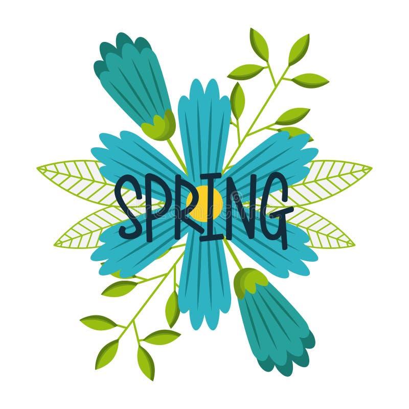 Flor azul com a decoração da rotulação da mola ilustração stock