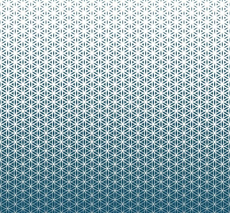 Flor azul de la pendiente de la geometría sagrada abstracta del modelo del tono medio de la vida stock de ilustración