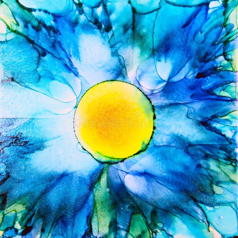 Flor azul de la tinta del alcohol stock de ilustración