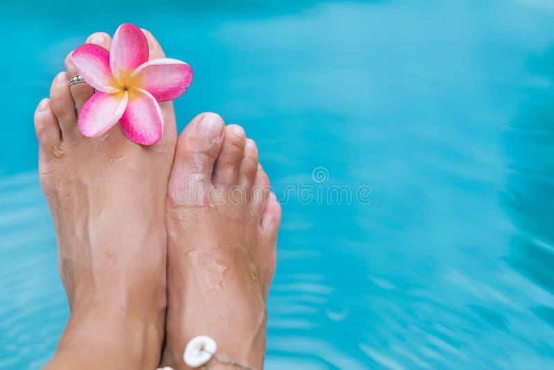 Flor azul do frangipani da água da associação dos pés fêmeas imagens de stock royalty free