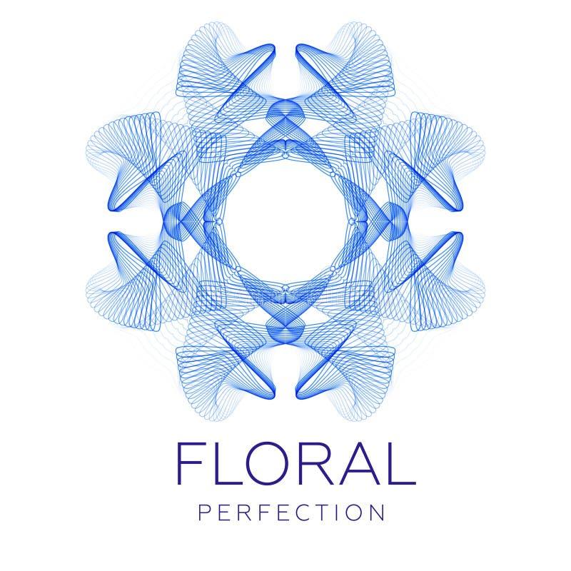 A flor azul fantástica, forma abstrata com lotes da mistura alinha ilustração stock