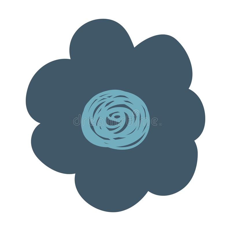 Flor azul marino del dibujo de la mano libre illustration