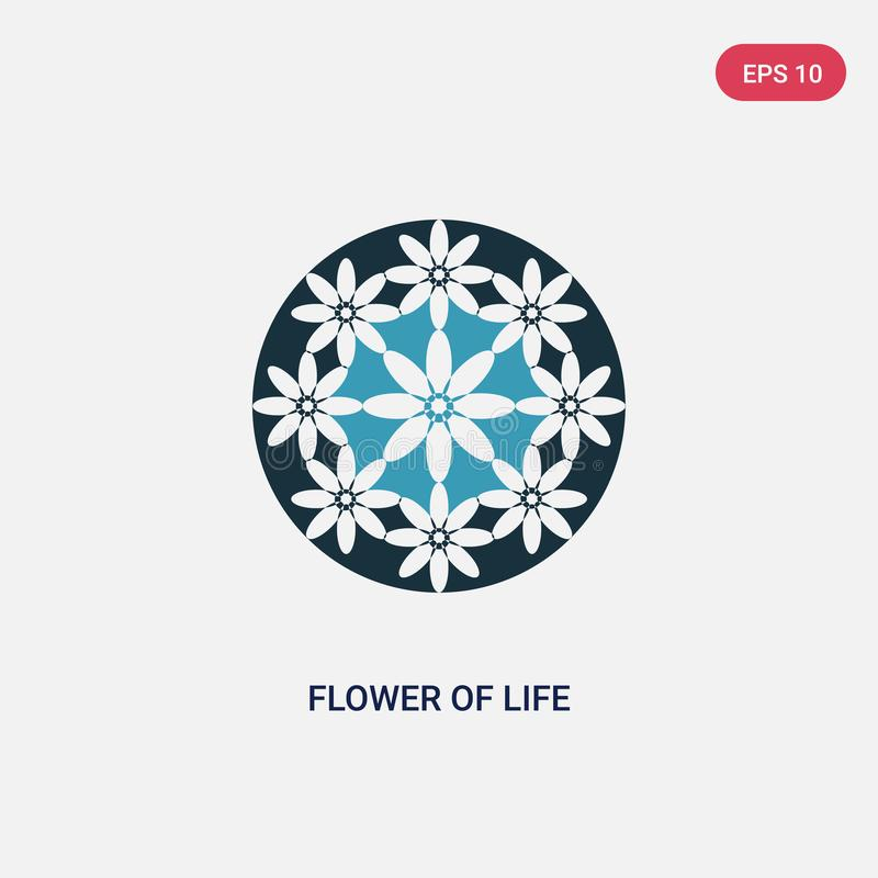 Flor bicolor del icono del vector de la vida de formas y del concepto de los símbolos la flor azul aislada del símbolo de la mues ilustración del vector