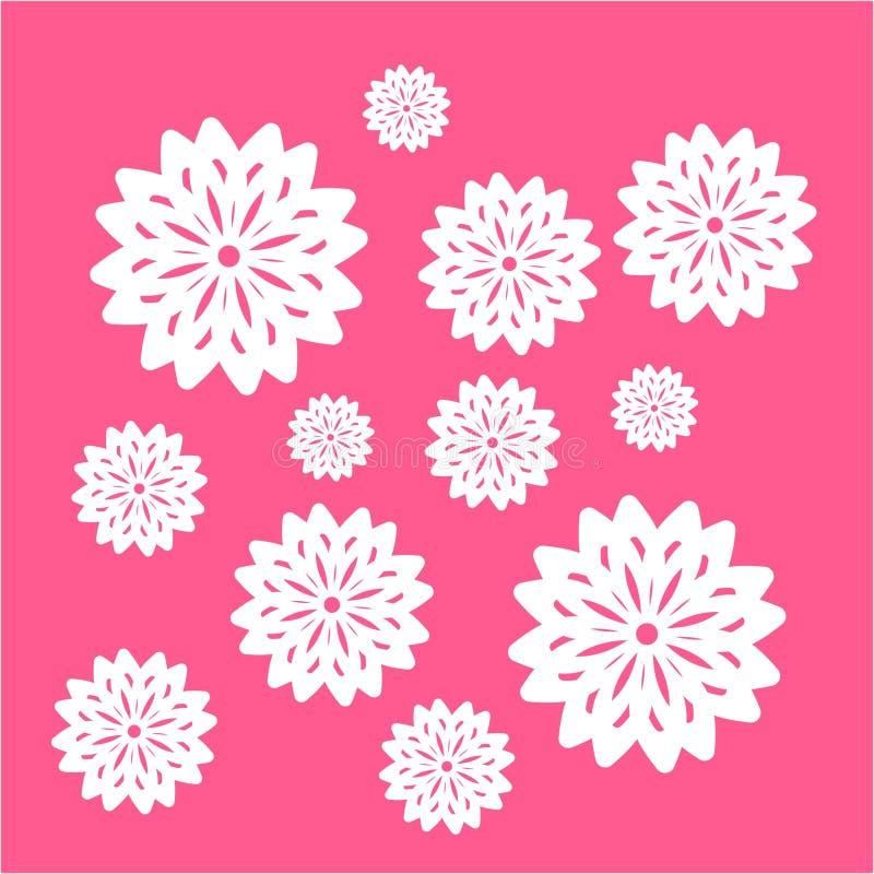 Flor blanca simple en el ejemplo rosado del vector del ornamento del fondo libre illustration