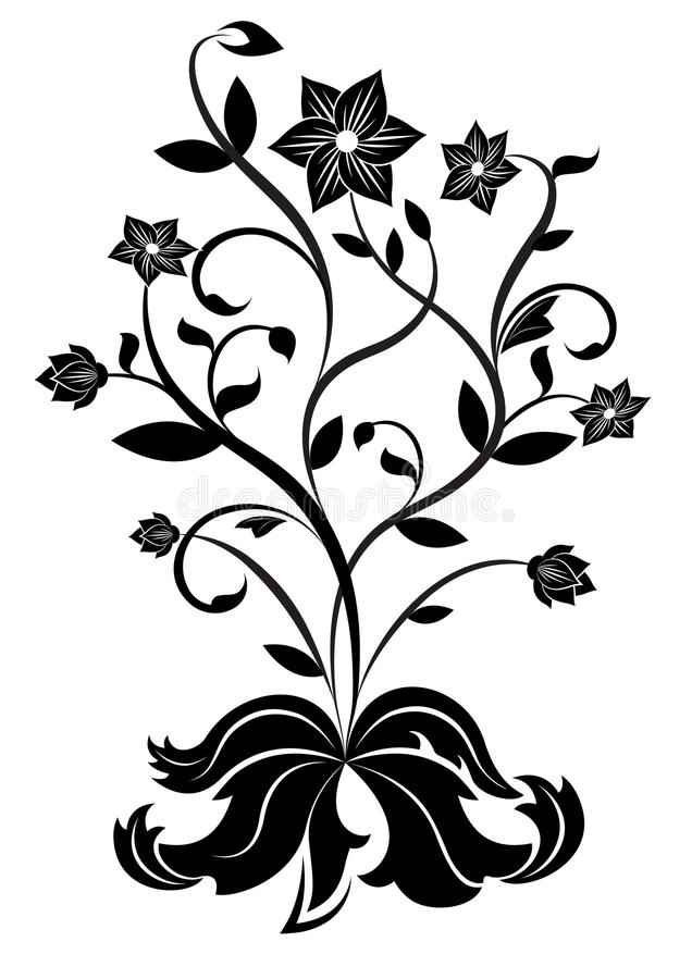 Flor blanco y negro libre illustration