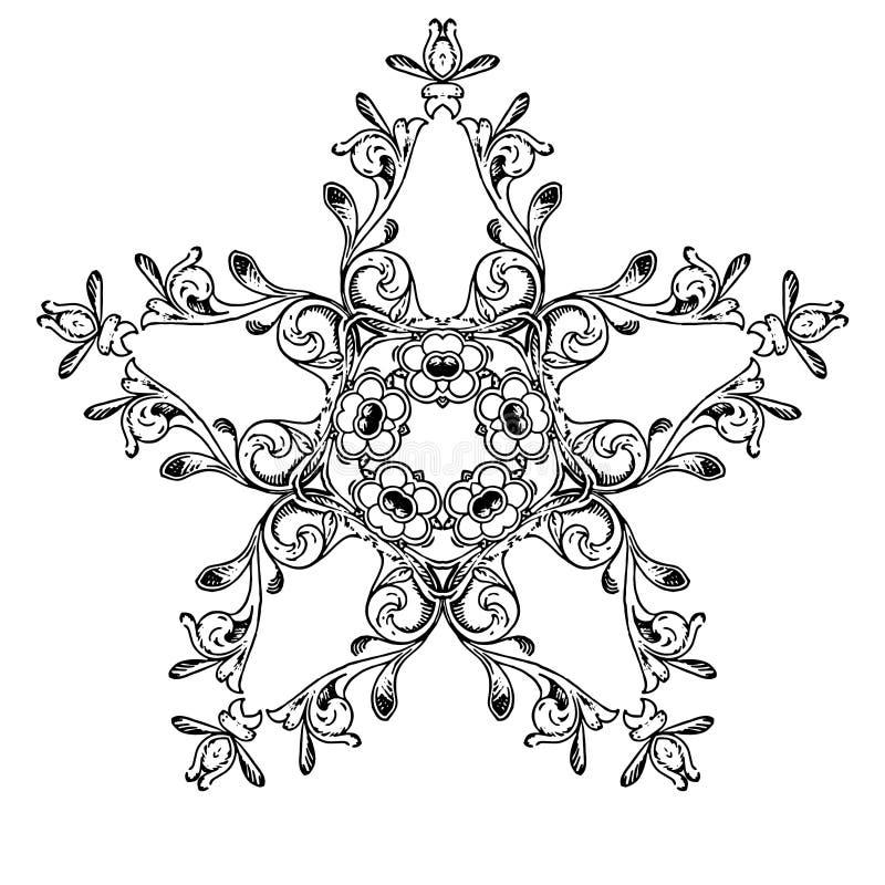Flor blanco y negro de la estrella imagen de archivo