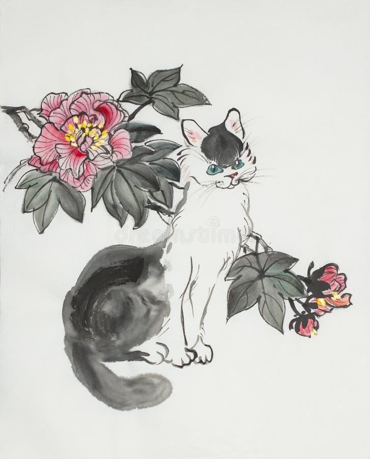 Flor blanco y negro del gato y del hibisco stock de ilustración