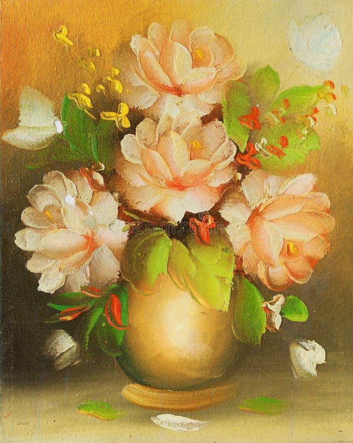 Flor bonita desenhada pela cor de petróleo em uma lona. ilustração stock