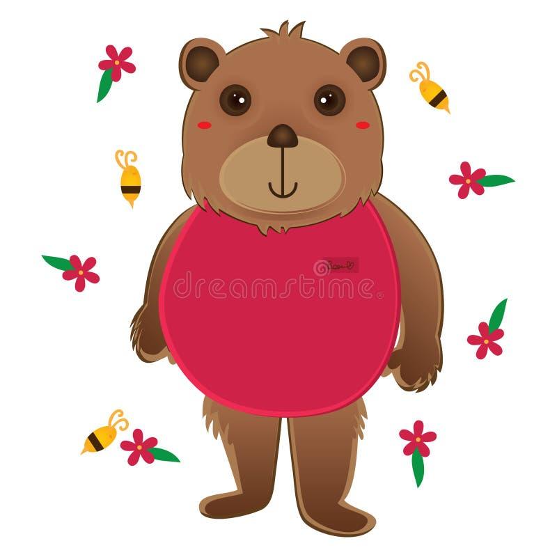 Flor bonito da abelha de pano do rosa do desgaste do urso ilustração do vetor