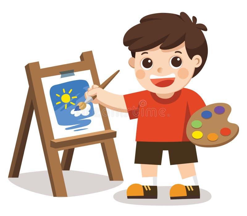 Flor bonito da pintura do menino do artista na lona ilustração royalty free