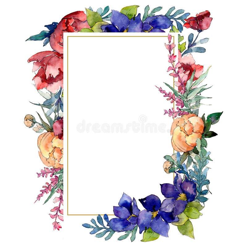 Flor botánica del ramo rojo, anaranjado y azul Sistema del ejemplo del fondo de la acuarela Cuadrado del ornamento de la frontera ilustración del vector